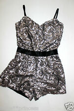 NWT bebe black silver charcoal straps overall sequins top dress romper S Small