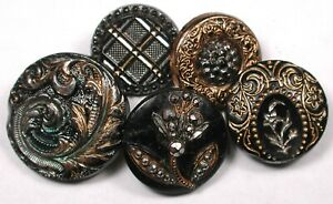 5  Antique Black Glass Buttons Various Gold & Silver Luster Designs 5/8-7/8""""