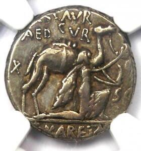 Roman M. Aem. Scaurus AR Denarius Camel Coin 58 BC - Certified NGC Choice VF