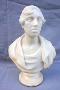 """Lord Byron Bust 11"""" Carrare Marble Carved English Romantic Early 19th C"""