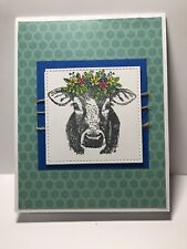 Handmade Greeting Card Cow With Flowers Blue Card