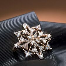 18k yellow gold gp made with Swarovski crystal flower Arabic pattern hair clip