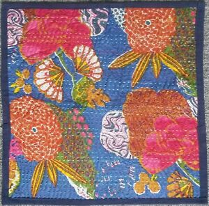 "Indian Floral Print Kantha Stitch-work Square Cushion Cover 16"" x 16"" - Navy"