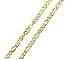 """14K Real Yellow Gold 3.1mm Figaro 3+1 White Pave Hollow Chain Necklace 18""""Inches"""