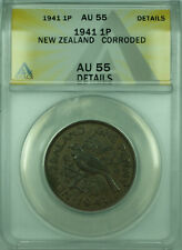 1941 1P New Zealand ANACS AU 55 Details Corroded 1 Penny Coin KM#13