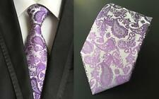Purple and Silver Paisley Patterned Handmade 100% Silk Tie