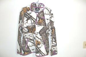 Womens Mossy Oak Fleece Long Sleeve Medium 8 10 Camouflage 1/4 Zip Purple Trim