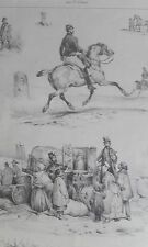 Artiste musique cheval soldat PASSE TEMS Victor ADAM GRAVURE originale XIXéme
