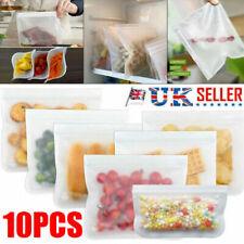 10PCS Resealable Silicone Food Storage Bags Freezer Seal Fresh Ziplock Vacuum UK