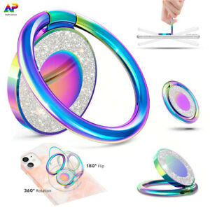 Phone Ring Stand Holder 360° Rotating Bling Glitter Finger Grip Metal Universal