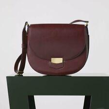 CELINE Medium Trotteur Saddle Bag in Oxblood Burgundy Natural Calfskin Leather