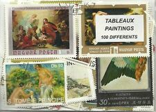 "Lot 100 timbres thematique  "" Tableaux"""