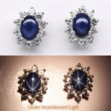 7x5mm Dark Blue Natural 6 Ray Star-Sapphire Earring With Topaz in 925 Silver