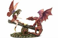 Fairy and Red Dragon Companion Sculpture Statue Mythical Creatures Figure Gift