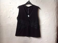 ❤️❤️❤️*NewWT Per Una @ M & S  16 Lovely Black Beaded Top Party/cruise RRP £29.50