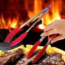 Silicone Handle Barbecue BBQ Tongs Home Cooking Salad Utensil Grilling Tools