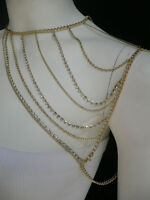 NEW WOMEN GOLD BODY FRONT SHOULDER CHAINS TRENDY METAL RHINESTON FASHION JEWELRY