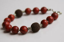 Handcrafted Red Coral Brown Lava Genuine Semi-precious Gemstone Bracelet Gift