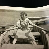 Unusual VTG Row Boat Photograph Woman in Dress Rowing Wide Legs Funny Lake River
