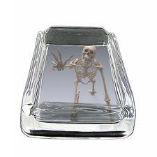 "Skeletons D9 Glass Square Ashtray 4"" x 3"" Smoking Cigarettes Skulls Death"