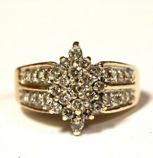 10k yellow gold 1.05ct SI2 Top Light Brown diamond cluster band ring 6.9g
