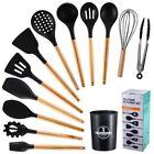 UK 12pcs Spoon Cooking Baking Tool Silicone Kitchenware Gel Kitchen Utensils Set