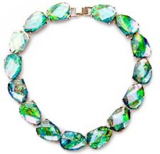 IRIDESCENT BLUE GREEN NORTHERN LIGHTS Aurora Borealis Chunky Silver Necklace