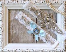 Garter w/ Toss-Wedding garter-Vintage Garter Set-Something Blue-Crystal Garter