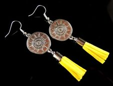 1 Pair of Antique Silver Tibetan Dangle Earrings with Yellow Suede Tassels #879