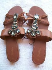 BNWT Women's Brown & Bling Detail Strappy Sandals Size 9