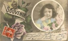 CARTE POSTALE FANTAISIE SOUVENIR PORTRAIT D'ENFANT FLEURS ROSES V.O 811