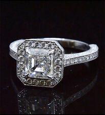 Natural 3.39 Ct Asscher Cut Engagement Halo Round Pave Ring G,VS2 EGL Platinum