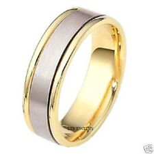 14K White and Yellow Gold Satin Finish Mens Wedding Bands Rings 7Mm