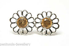 9ct White Gold Citrine Studs earrings Gift Boxed Made in UK