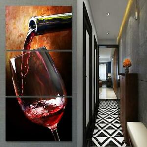 Wine Glass Vino Alcohol Drinks Bar Framed 3 Piece Canvas Wall Art Painting Wallp