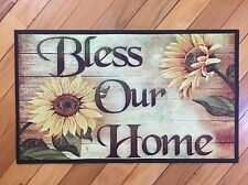Bless Our Home Autumn Sunflower Kitchen Rug Rustic Wood Panels Rubber Mat