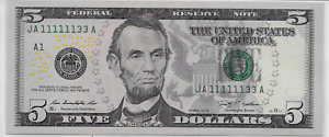 Uncirculated $5 Series 2009 BINARY; 6 solid 1's; one in half million+; LotT909ᴙ1