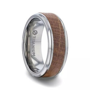 Jack Daniels Whiskey Barrel Inlaid Titanium Men's Wedding Band - 8mm