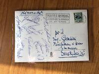 CARTOLINA CON AUTOGRAFI NAZIONALE CALCIO ITALIA 1953 ROMA VIVOLO CERVATO