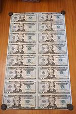 16 UNCUT SHEET $20 $20x16 USA $20 DOLLAR BILLS Rare Real Currency Notes