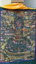 ANTIQUE 18C-19C TIBETIAN  HAND PAINTED THANKA ON FABRIC ,BUDDHIST TEMPLE SCENE#1