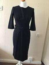 GOAT - Designer Navy Blue Pencil Dress - UK6 - Wool Crepe - With Belt