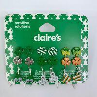 Claire's St Patricks Day Earrings Clover Shamrock Irish Theme Set of 9 Pairs