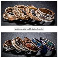 Fashion Punk Crystal Multilayer Wrap Leather Braided Cuff Bracelet Wristband