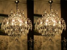 PAIR Antique Vnt.French Nickel/chrome SPIDER Style Crystal Chandelier Light Lamp