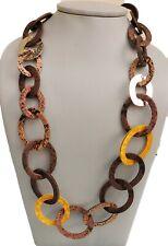 Damen Kette Halskette Modeschmuck Leder ovalen Gliedern Leder lang braun bunt EG