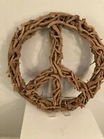 """Large Driftwood Peace Sign Wall Hanging Handmade  24"""" round"""