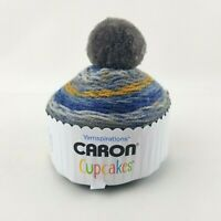 "Caron Cup Cakes Gradient Worsted Yarn Ball Acrylic Pom Pom Hat ""Nougat"""