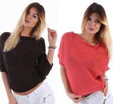 Taillenlange Damen-Pullover ohne Verschluss mit mittlerer Strickart
