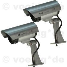 2x Kameraatrappe CCD Überwachungskamera Dummy Kameradummy Kamera-Attrappe m. LED